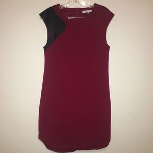 Trina Turk leather shoulder detail bodycon  dress